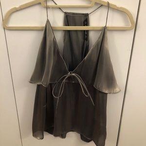 Silver/Coper Silk Zara tie in front camisole